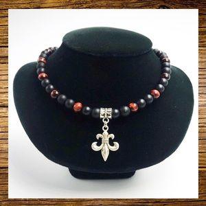 Onyx & red tiger eye fleur de lis charm necklace